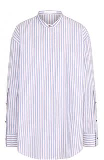 Хлопковая блуза свободного кроя с воротником-стойкой BOSS
