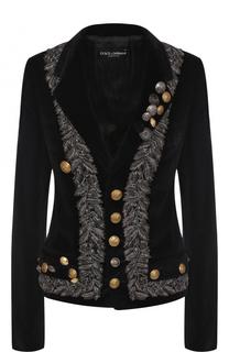 Приталенный бархатный жакет с декоративной отделкой на спинке Dolce & Gabbana