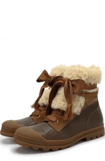 Комбинированные ботинки с меховой отделкой Chloé