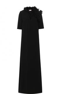 Платье-макси с высоким разрезом и оборками Lanvin