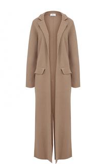 Удлиненное однотонное пальто из смеси шерсти и кашемира Allude