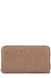Кожаный кошелек на молнии с логотипом бренда Coccinelle