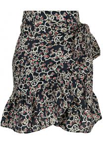 Льняная мини-юбка с оборкой и принтом Isabel Marant Etoile