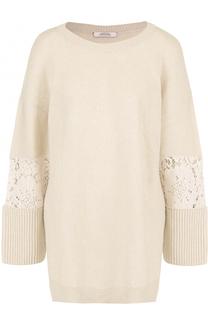 Шерстяной пуловер свободного кроя с кружевными вставками Dorothee Schumacher