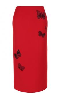 Юбка-карандаш из смеси шерсти и шелка с вышивкой Valentino