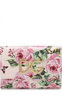 Кожаный кошелек с цветочным принтом и логотипом Dolce & Gabbana