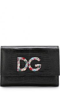 Кожаный кошелек с клапаном и логотипом бренда Dolce & Gabbana