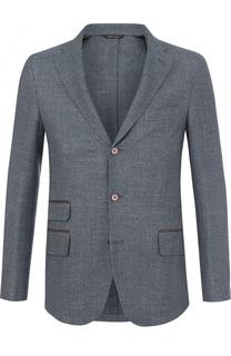 Однобортный пиджак из смеси шерсти и льна с шелком Loro Piana