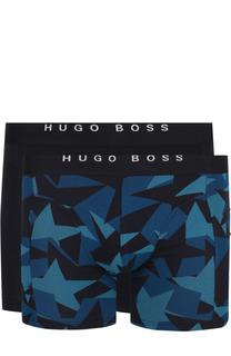 Комплект из двух хлопковых боксеров с широкой резинкой BOSS
