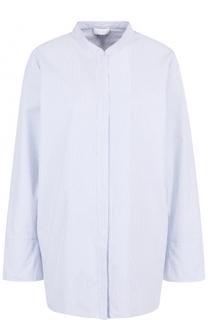 Хлопковая блуза свободного кроя с воротником-стойкой Escada Sport