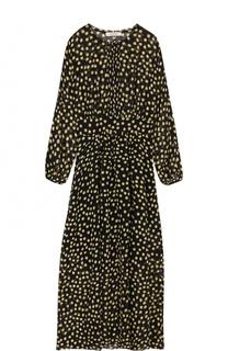 Приталенное шелковое платье-миди в горох Dorothee Schumacher