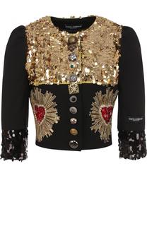 Приталенный жакет с укороченным рукавом и контрастной вышивкой Dolce & Gabbana