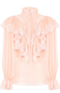 Прозрачная шелковая блуза с кружевной отделкой и оборками Dolce & Gabbana