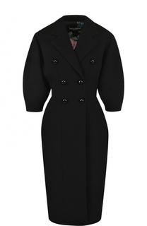 Шерстяное двубортное пальто с укороченным рукавом Dolce & Gabbana