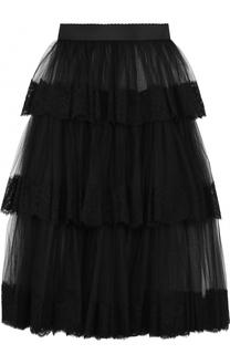 Многоярусная прозрачная юбка-миди с эластичным поясом Dolce & Gabbana