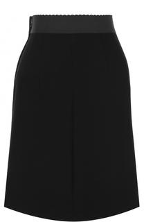 Шерстяная мини-юбка с эластичным поясом Dolce & Gabbana