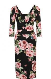 Шелковое платье-футляр с принтом и укороченным рукавом Dolce & Gabbana