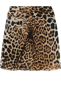 Шелковая мини-юбка с леопардовым принтом Saint Laurent