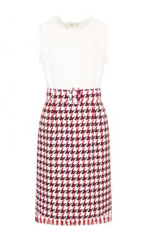 Буклированное платье-миди с поясом и контрастным лифом Oscar de la Renta