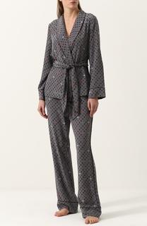 Шелковая пижама с контрастным принтом Equipment