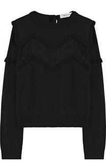 Шерстяной пуловер с кружевной вставкой Valentino