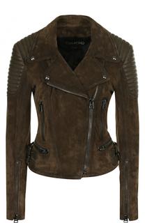 Приталенная замшевая куртка с косой молнией Tom Ford