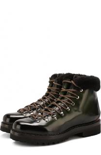Кожаные ботинки на шнуровке с меховой отделкой Ralph Lauren