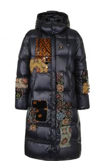 Пуховик на молнии с декоративными заплатками Dolce & Gabbana