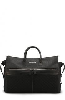 Текстильная дорожная сумка с кожаной отделкой Dsquared2