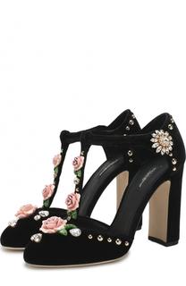 Текстильные туфли Vally с декоративной отделкой Dolce & Gabbana