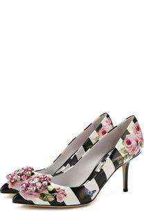 Кожаные туфли Bellucci с брошью Dolce & Gabbana