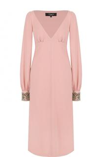 Платье-миди с завышенной талией и V-образным вырезом Rochas
