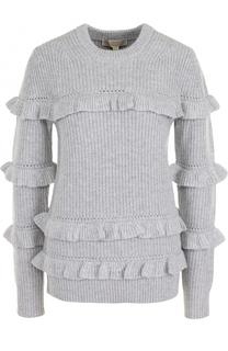 Вязаный пуловер с круглым вырезом и оборками MICHAEL Michael Kors