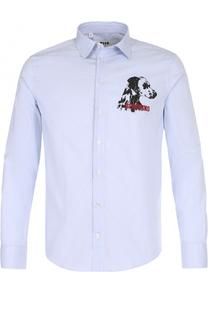 Хлопковая рубашка в полоску с принтом MSGM