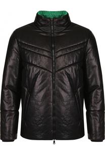 Утепленная кожаная куртка на молнии с воротником-стойкой Valentino