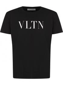 Хлопковая футболка с надписью Valentino