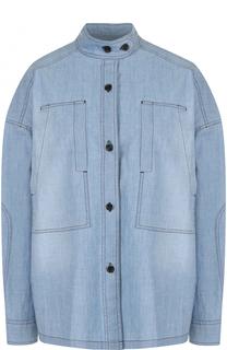 Джинсовая блуза свободного кроя с воротником-стойкой Isabel Marant Etoile