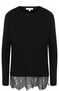 Кашемировый пуловер с кружевной отделкой MICHAEL Michael Kors