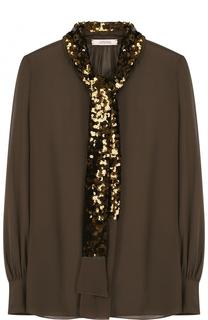Прозрачная шелковая блуза с декорированным воротником аскот Dorothee Schumacher