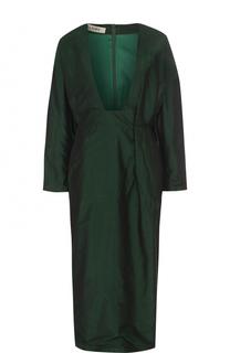 Шелковое платье-миди с глубоким V-образным вырезом Tata Naka