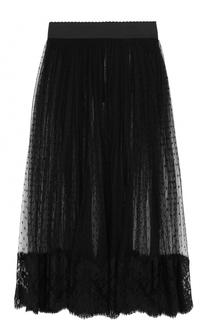 Прозрачная кружевная юбка-миди с широким поясом Dolce & Gabbana