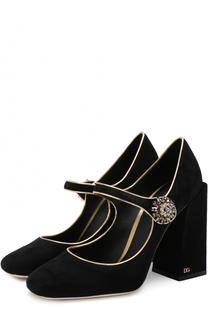 Замшевые туфли Vally на геометричном каблуке Dolce & Gabbana