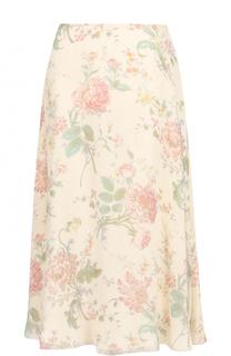 Шелковая юбка-миди с цветочным принтом Ralph Lauren