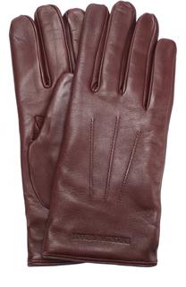 Кожаные перчатки с шерстяной подкладкой Emporio Armani
