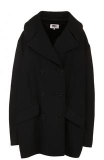 Двубортное пальто свободного кроя с поясом Mm6