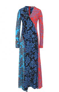 Шелковое платье-макси с длинным рукавом и принтом Diane Von Furstenberg