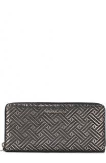 Кожаное портмоне на молнии с принтом и логотипом бренда MICHAEL Michael Kors