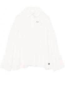 Блуза свободного кроя из вискозы и шелка с брошью Lanvin
