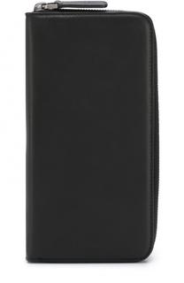 Кожаное портмоне на молнии с отделениями для кредитных карт и монет Giorgio Armani