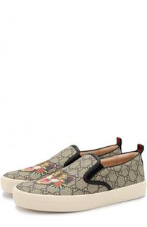 Текстильные слипоны Dublin с принтом Gucci